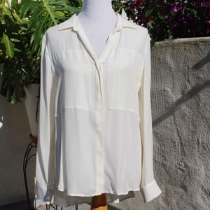 Theory Long Sleeved Silk Blouse